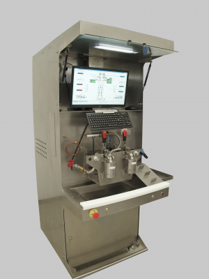 Thermostatic cartridge adjustment test bench